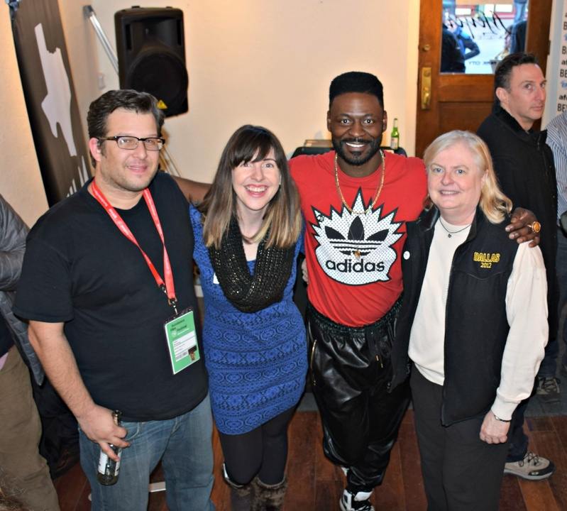 Texas Film party at Sundance Film Festival, Austin-based producer Jason Wehling, Texas Film Commission's Kim LeBlanc, Houston-based actor Tishuan Scott in RESULTS, Dallas Film Commissioner Janis Burklund