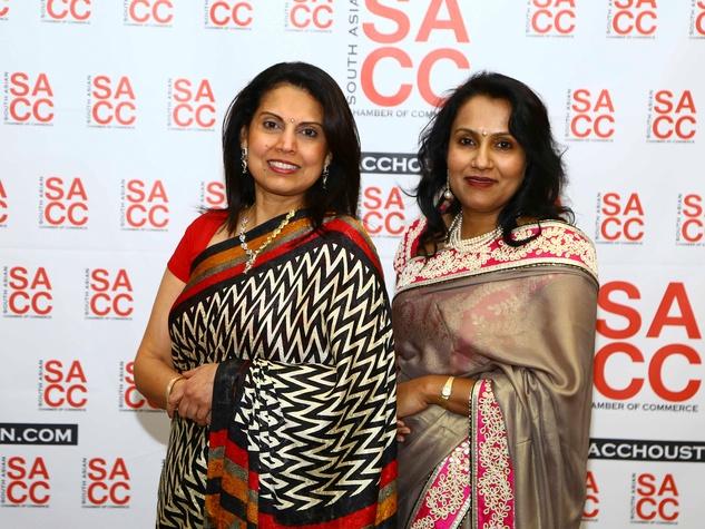 Savita Rao, left, and Madhavi Ghatge Kavadi at the South Asian Chamber Gala February 2014