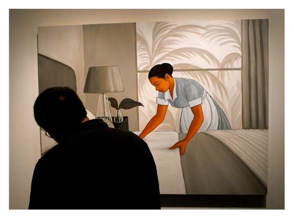 Lawndale, The Big Show, July 2012, Kay Sarver, Room Service 2012, oil on wood