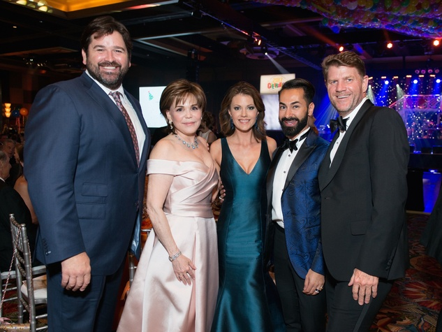Brian Caswell, Hallie Vanderhider, Jennifer Caswell, Fady Armanious and Bill Baldwin at Memorial Hermann Gala