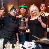 27 Staci Davis, from left, Todd Kerr, Jennifer Hoffman and Lewis Martin at the Bon Vivant dinner January 2015