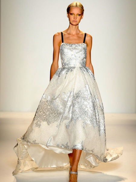 Clifford, Fashion Week spring 2013, Sunday, Sept. 9, 2012, Lela Rose, cream and silver gown