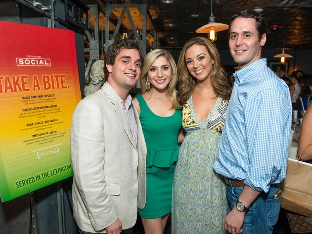 17 Nik Kapetanakos, from left, Kelcy Mayell and Katy and Mat Ellis at the CultureMap Summer Social July 2014