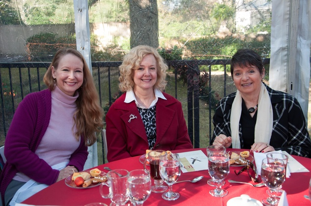 2 Diana Shelby, from left, Lisa Hammel and Linda Allen at the ROCO Yuletide Concert at Bayou Bend December 2014