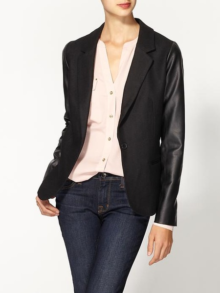 Piperlime Tinley Road Vegan Leather Sleeve Blazer