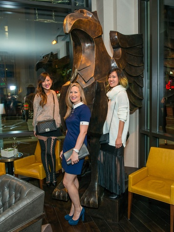 12 Fifi Phi, from left, Bethany Buchanan and Issa Chou at the JW Marriott Houston Grand Opening November 2014