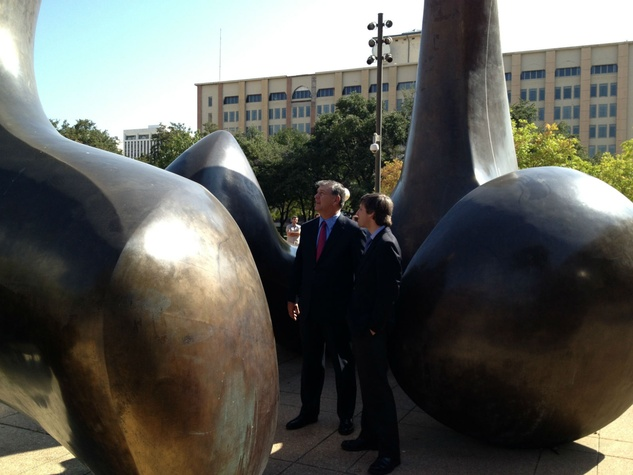 Dallas Mayor Mike Rawlings and Jed Morse at Dallas City Hall sculpture