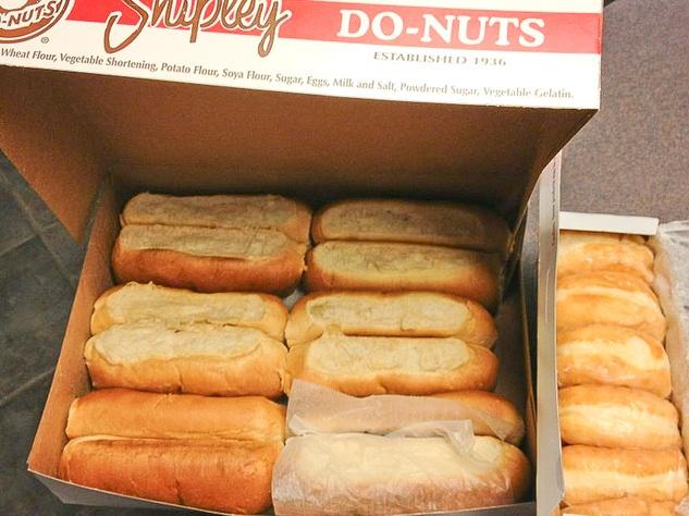 Shipley's kolaches and doughnuts in a box