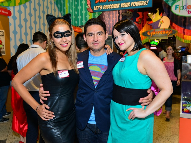 26 Leila Nouchedehi, from left, with Mario Olmedo, Kristina Olmedo at the Children's Museum Freak Out Friday June 2014