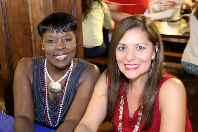 39 Pam Huewitt, left, and Sandra Aultman at the Houston Area Women's Center Young Leaders Independence Day Bash July 2014.