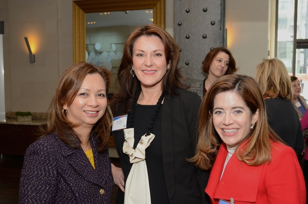 10 Trinh Abrell, from left, Miri Wilkins and Mathilde Leary at the Ellevate launch March 2015