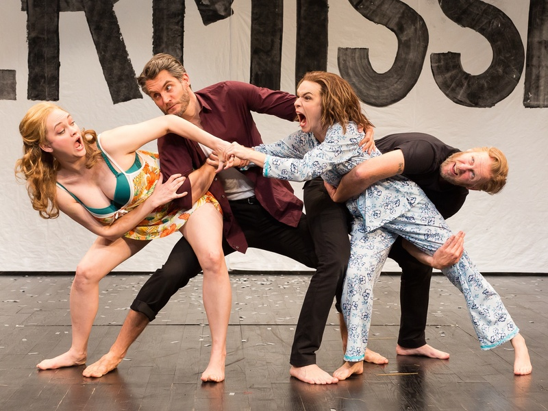 Melissa Pritchett as Helena, Michael Brusasco as Demetrius, Elizabeth Bunch as Hermia and Chris Hutchison as Lysander in the Alley Theatre's production of A Midsummer Night's Dream.