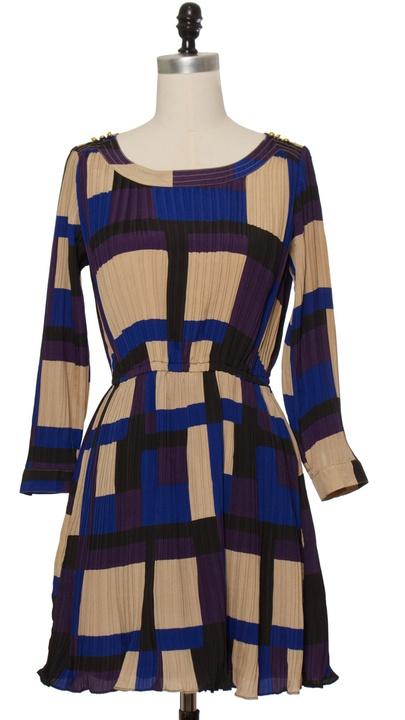 Chloe Loves Charlie Blue Pleated Blocks Dress