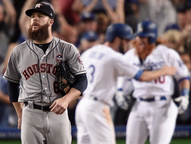 Astros pitcher Dallas Keuchel was solid, but he gave up a late home run to lose Game 1 of World Series