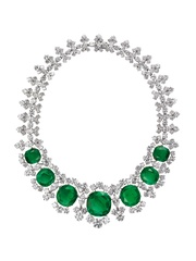 Bulgari exhibit at the Houston Museum of Natural Science  Bvlgari Necklace in Platinum with Emeralds and Diamonds - 1961