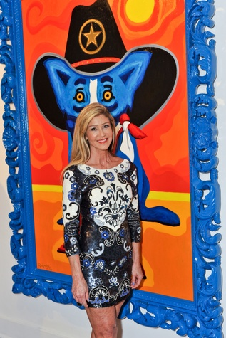 Patti Murphy at George Rodrigue Blue Dog party