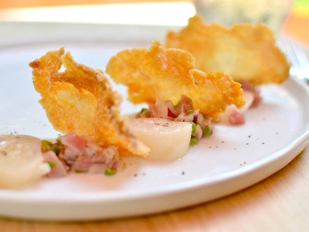 ... Cuisine ceviche tuna ceviche, torched scallops and snapper chips