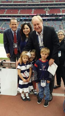 News, Shelby, Texans sidelines party, Nov. 2014 Jamey Rootes, Gabby Petersen, Gary Petersen, Margaux Petersen, Bella Petersen, Meyer Petersen