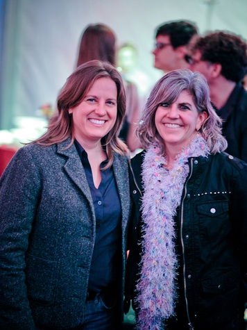 Karen Neimeier, left, and Diane Barber at the FotoFest opening party March 2014