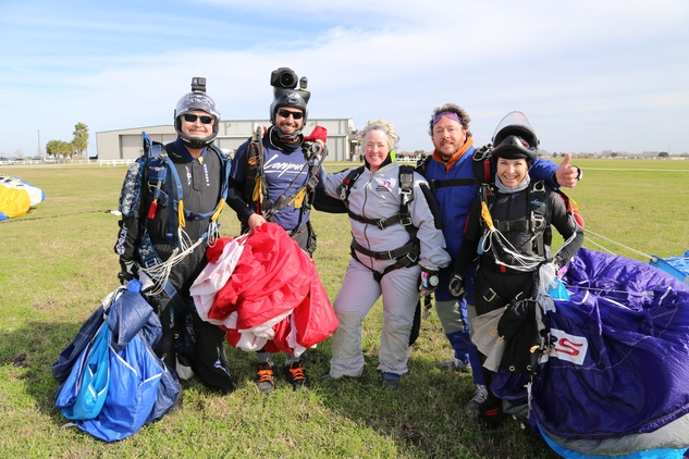 Annise Parker and friends skydive