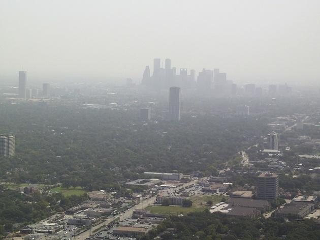 downtown Houston skyline smog haze pollution