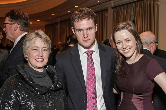 Mayor Annise Parker, from left, Chris McClure and Austin Thomas at the Cornerstone Dinner February 2015