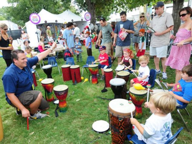 Drumzone drum circle workshop at Austin Kiddie Limits