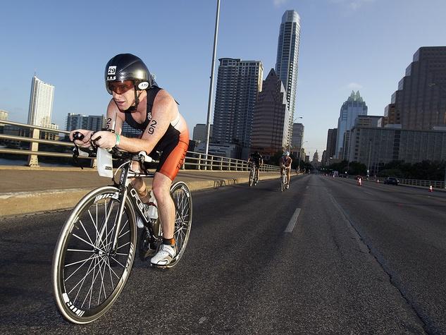 Austin TriRock triathlon cyclist Congress Avenue race