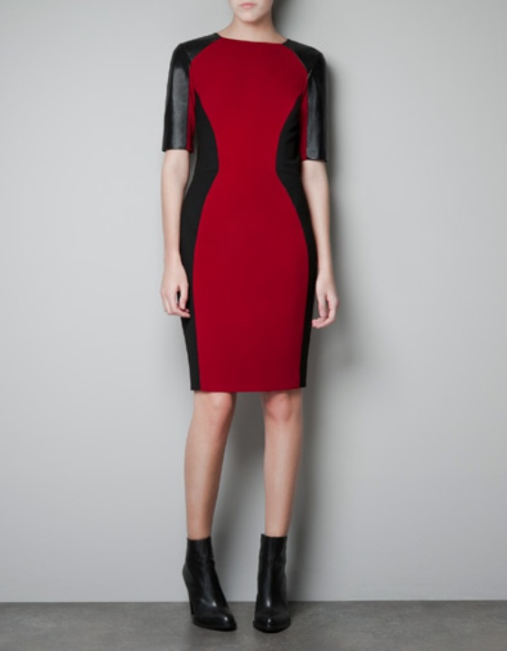 Body Con Dress With Leather Details