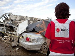 Red Cross volunteer flooding cleanup