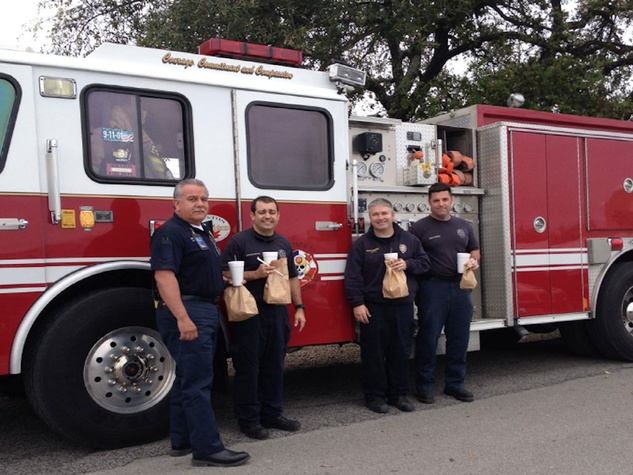 Houston Firefighters visit Goode Company BBQ