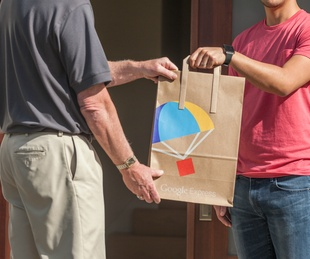 Google Express logo bag door delivery service