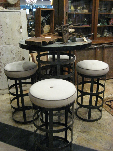 The Revolving Vault, industrial table with stools, September 2012