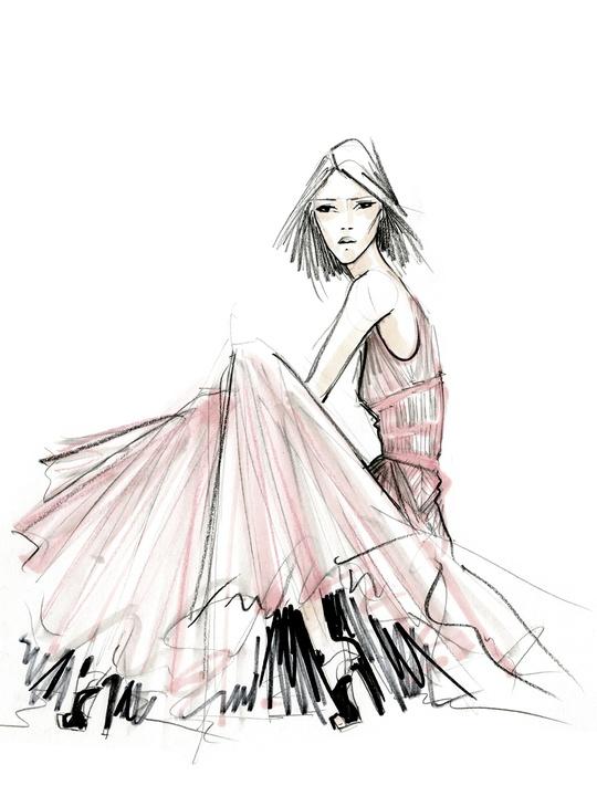 Fashion Week spring summer 2014 Bibhu Mohapatra sketch