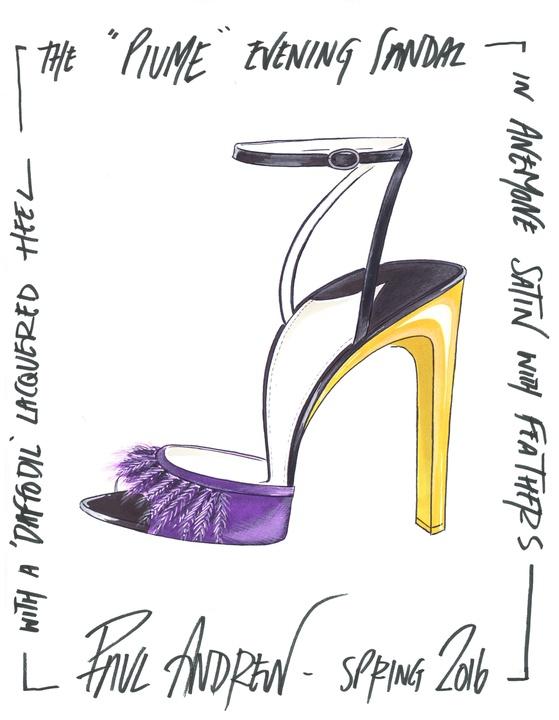 Paul Andrew inspiration sketch New York Fashion Week Fall 2016