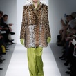 Fashion Week fall 2013, Dennis Basso, February 2013, fur coat with lime silk pants