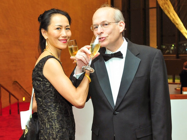 Y. Ping Sun and David Leebron at the Houston Symphony Wine Dinner March 2014