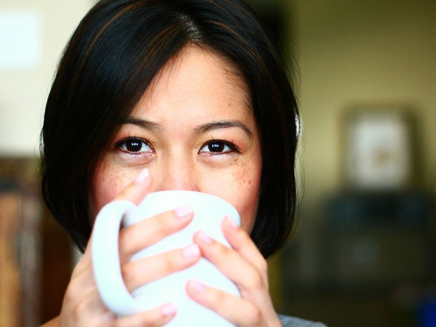 Christine Ha with coffee cup
