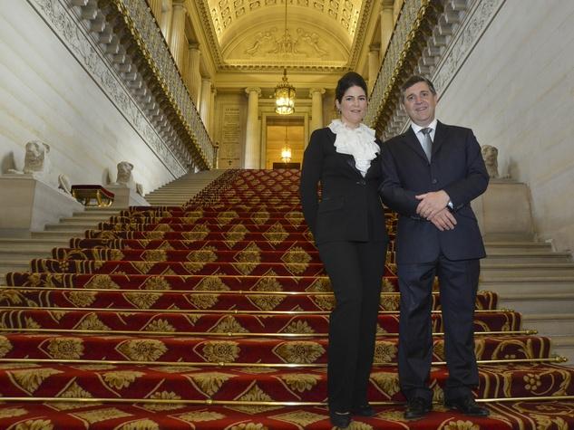 Alberic de Montgolfier and Audrey de Montgoflier at Luxembourg Palace dinner June 2013