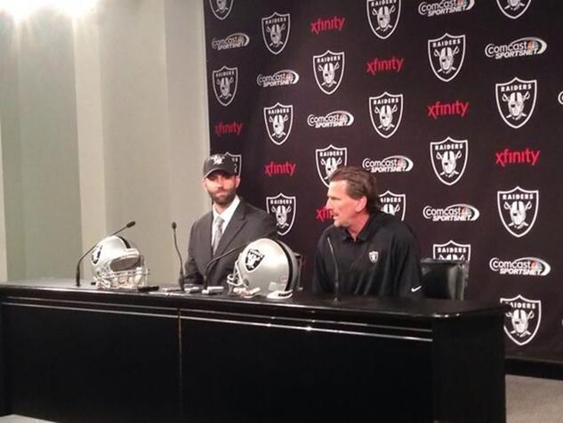 Matt Schaub and offensive coordiator Greg Olson Oakland Raiders March 2014