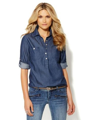 new york & co Chambray Popover Shirt
