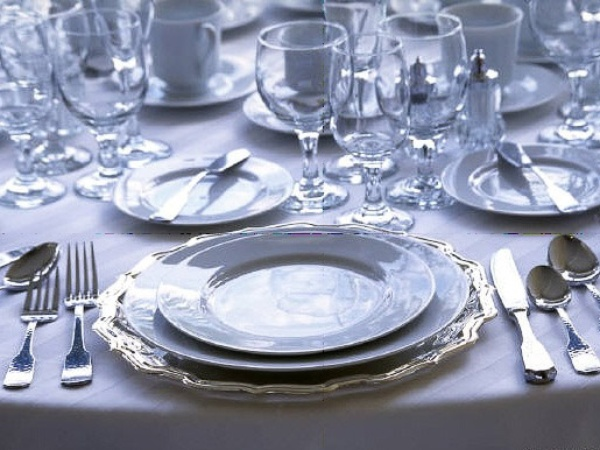 formal place setting, four-course meal, table setting