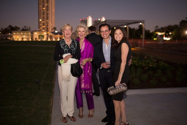 12 Nancy Manderson, from left, Terrylin Neale and Brent and Michele Friedman at the Hermann Park Centennial Gardens inaugural dinner October 2014