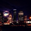 """1 Supermoon over downtown Houston August 2014 """"The super moon rises over downtown Houston. """""""