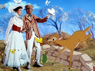 Julie Andrews and Dick Van Dyke in Mary Poppins animated sequence