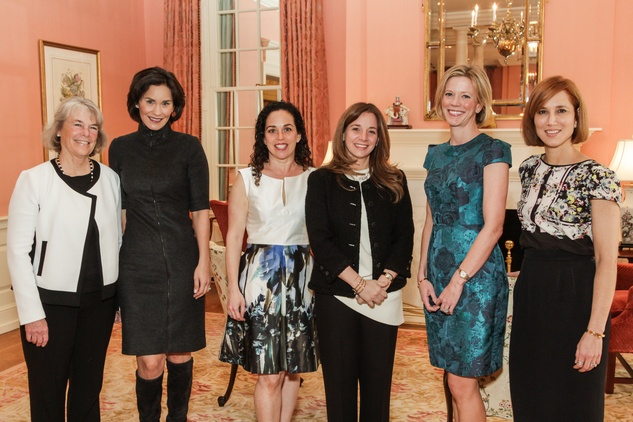 Kathy Heinzerling, from left, Laura Arnold, Viviana Denechaud, Vanessa Sanchez, Megan Morris and Carolyn Dorros at the Breakthrough Houston luncheon February 2015
