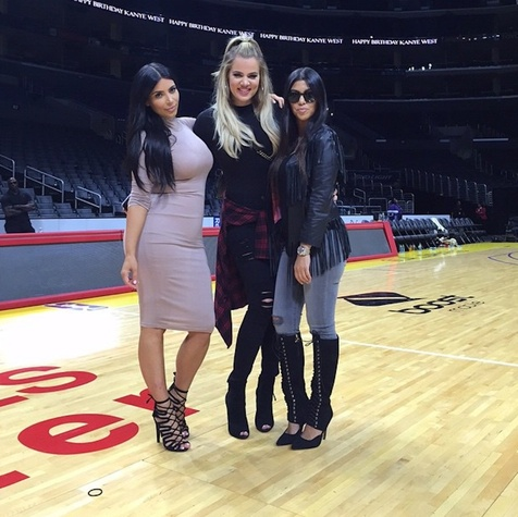 Houston, Kim Kardashian West, Khloe Kardashian, Kourtney Kardashian at Kanye West birthday at Staples, July 2015