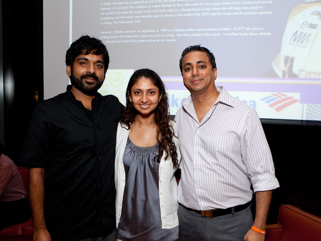398 Rishi Singh, left, with Poonam and Jagdeep Chadha at the Leo Bar relaunch party October 2013