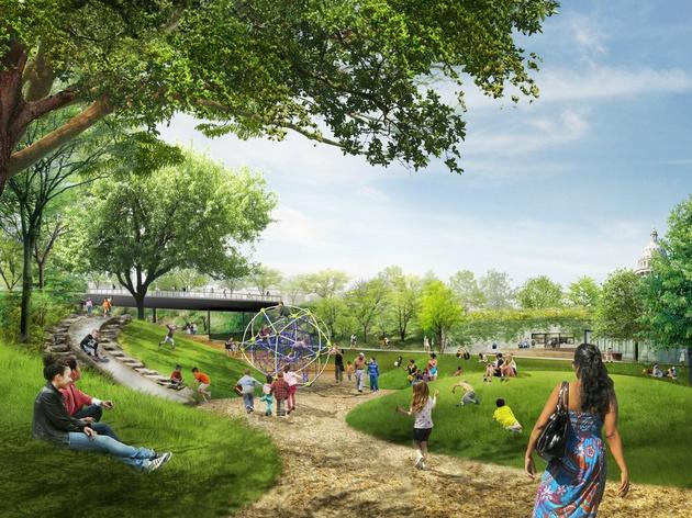 Waller Creek Plans Waterloo Park Play Lawn