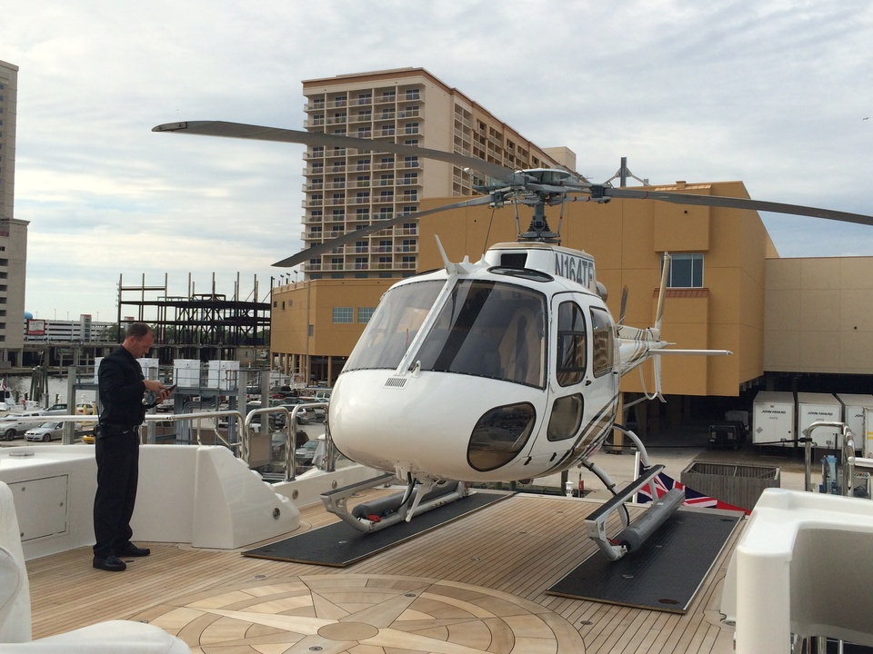 Helicopter on Tilman Fertitta yacht May 2014